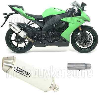 Arrow Kit Muffler Exhaust Racetech Aluminium White Kawasaki Zx10R 2010 10