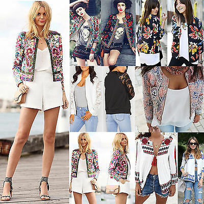 Womens Classic Bomber Jacket Slim Top Floral Embroidered Short Coat Blazer Suit