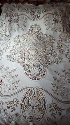 "Stunning Vintage Heavy Lace Bed Cover Counterpane Tablecloth 84""x 60"""
