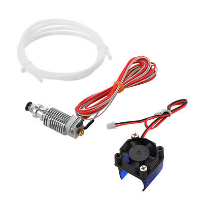 3D Printer Extruder J-head Hotend with Fan + PTFE Tube for 1.75/0.4mm Filament
