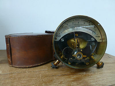 Vintage Robert W Paul Galvanometer in Leather Case no. 2133 dated 1917