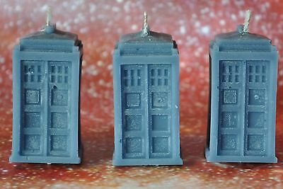 Three Doctor Who Tardis Candles