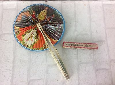 "Vintage 1950's Randor Opera Folding Hand Fan ""Keep Cool and Be Gay"" in Box"