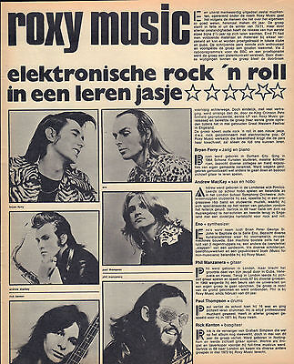 Roxy Music - Photo's + Articles  From Dutch Music Magazines 1972 + 1973