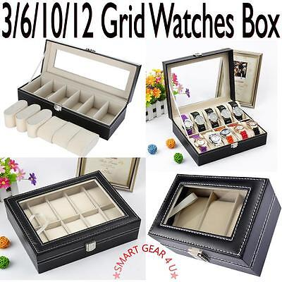 Faux Leather Watch Case Storage Box Organiser Display Brand New 10/12 Grid