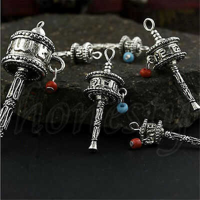 1Pc Tibetan Buddhism Nepal Silver Colored Hand Prayer Wheel with Mantra Gift