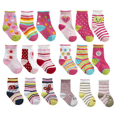 Newborn Toddler Baby Girls Novelty Socks Cotton Rich 3 or 6 Pairs Size 0-5.5 UK