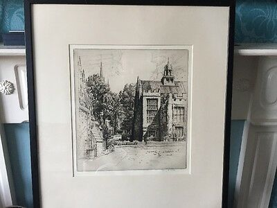 original Sydney R Jones Etching Of Middle Temple Hall And Fountain Court