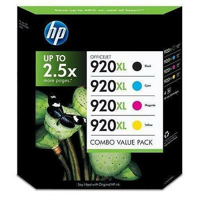 Genuine HP 920XL Black Cyan Magenta Yellow Ink for OfficeJet 6000 6500 7500A NEW