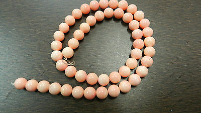 "1PC 16"" Synthetic Light Pink Coral 8mm smooth round gemstone cute beaded strand"