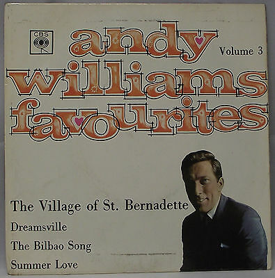 """ANDY WILLIAMS FAVOURITES VOL.3 EP 7"""" Vinyl 45rpm Picture Sleeve VG"""