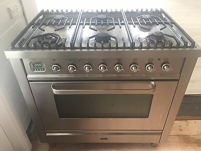 ILVE 900mm stainless steel dual fuel freestanding cooker