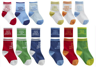 Newborn Toddler Baby Boys Novelty Cotton Rich Funny Keep Calm Socks 3 or 6 Pair