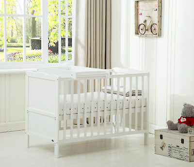 "MCC® Wooden Baby Cot Bed ""Orlando"" with Top Changer & Water repellent Mattress"