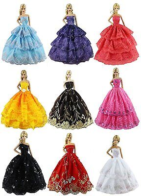 6pcs/Lot Barbie Doll Fashion Princess Dresses Outfits Party Wedding Clothes Gown