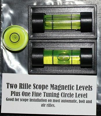 Two Rifle Scope Magnetic Levels.  One Fine Tuning Circle Level.