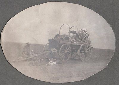Vintage Photograph Early 1900's Men Covered Wagon Laramie Wyoming Old Photo