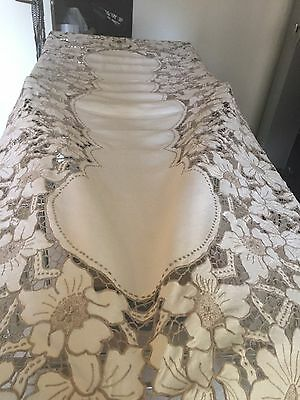 XL Vintage Authentic Madeira Linen Lace Cut Work Embroidery Tablecloth & Napkins