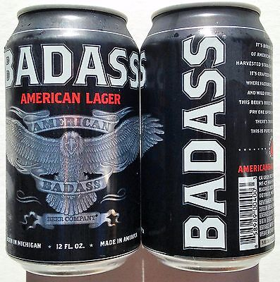 BadAss American Lager craft beer can 12oz Detroit Michigan Bottom Open unique