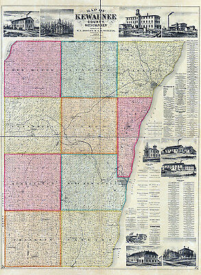 1895 Map of Kewaunee County Wisconsin Ahnapee