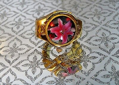 Adjustable Pink Flower Cover Quartz Finger Ring Watch with for Kids and Women