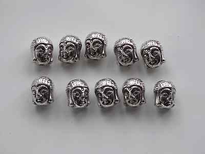 10 Pcs Antique Silver Buddha Skull Head Spacer Bead Charm for Jewellery/Bracelet