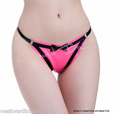 R1654 Rubber Latex G-String Thong M Transparent Black with Black RRP £42.26