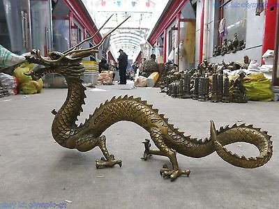 """17"""" China brass copper carved fine powerful four claws dragon Sculpture Statue"""