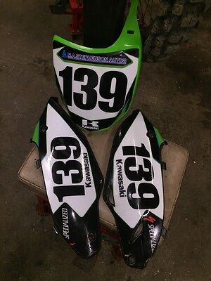 Kawasaki Kxf 250 2015 Number Boards Flo Green Black Plastics Graphics