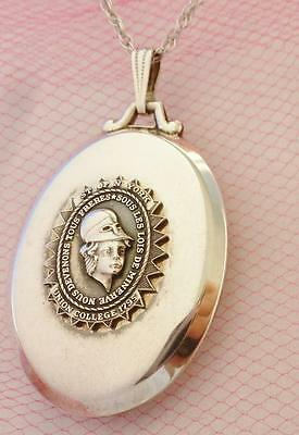 ANTIQUE Vintage UNION COLLEGE Hidden LOCKET Sterling 1795 Seal LARGE Necklace