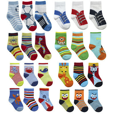 6 Pairs Baby Boys Novelty Socks Cotton Rich Printed Design Newborn Sizes 0-5.5