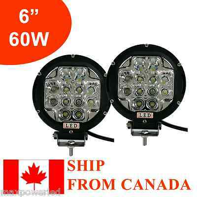 2x 6in 60W Round LED Work Light Spot OffRoad Jeep Truck 4WD ATV