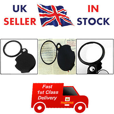 New Pocket Folding Spiegel Magnifier Magnifying Glass 10X Loupe Round Cover 50mm