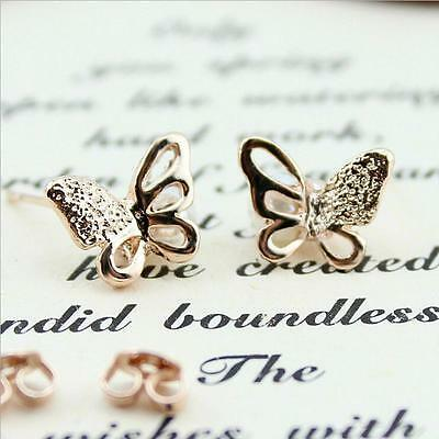 Shiny 14K/14ct Rose Gold PL Cute Hollow Cutout Butterfly Pearl Stud Earrings