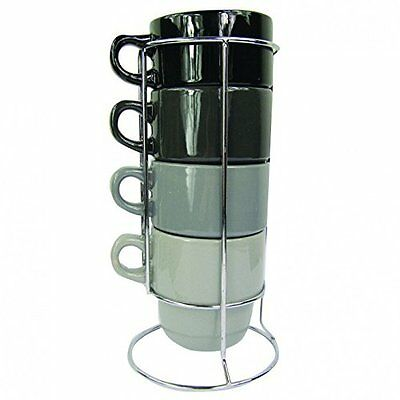 Large Stackable Mugs On Stand Holder - Grey
