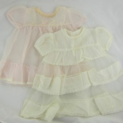 TWO Vintage Sheer Baby Dresses Cream & Light Pink w/ Embroidered Flowers 12 Mo