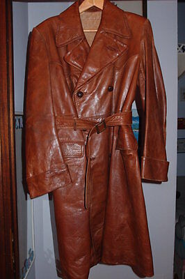 Cappotto In Pelle Vintage Leather Trench Coat