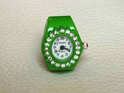 Adjustable Stretch Quartz Finger Ring Watch Green With Rhinestone For Kids Women