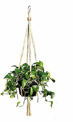"""Plant Hanger Natural Jute Rope  48"""" Patio Balcony Deck Round or Square Pot"""