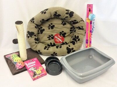 Cat Starter Kit, cat starter set, rim cat litter tray with cat igloo bed