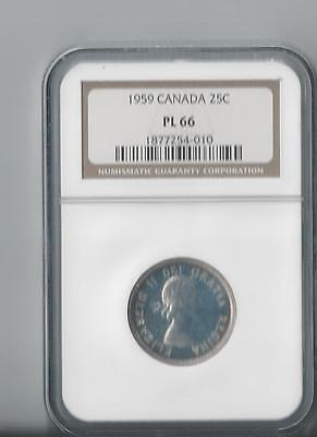 "1959 Canada Twenty-Five Cents  Ngc Pl-66 ""silver"""