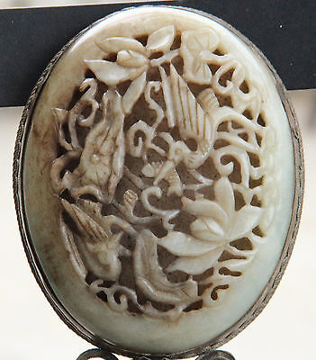 Very Beautiful Vintage Chinese Jade Hand Mirror.