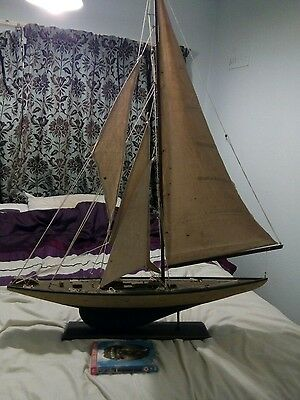 model sailing ship vintage nice condition very large wooden ideal collector