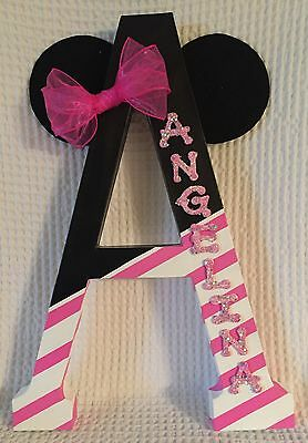 """Baby Girl Nursery Letter ~ Minnie Mouse ~ Black Pink White ~ 23"""""""