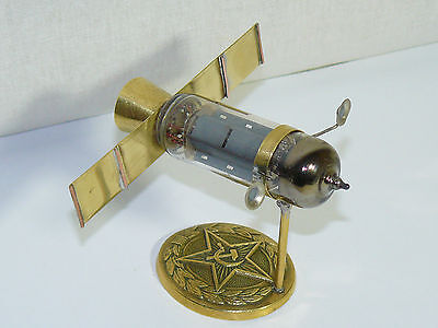 Paperweight Trench Art Soviet Sputnik Space Cosmos Made Old Radio Lamp Buckle