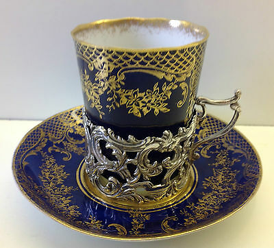 Crown Staffordshire Solid Silver Holder London 1914 coffee Cup & Saucer.