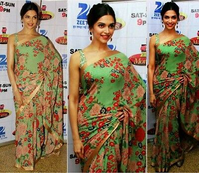 Bollywood Designer Floral Green Saree  Ready To Ship Ethnic Indian Saree