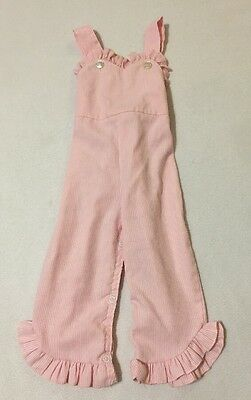 Vtg JC Penney Toddle Time Overalls Pink White Stripe 18 Months Ruffle