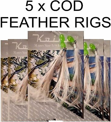 5  x COD FEATHER RIGS  - SEA FISHING TACKLE  5/0 HOOKS - QUALITY FEATHER LURES