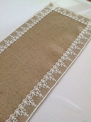 Natural Hessian, Burlap,  Ivory Lace Table Runner+4FREE Cutlery holders